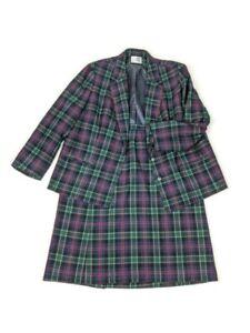Vintage Pendleton Womens Plus Size 18 20 2xL Plaid Wool Blazer Skirt Set 1980s
