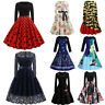 Women Vintage Prom Ball Gown Party Dress Long Sleeve A-Line Maxi Short Dresses