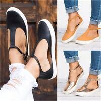 Women Ladies Flat T-Bar Ankle Strap Summer Espadrille Pump Sandals Casual Shoes