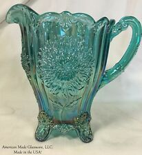 Turquoise Carnival Glass Dahlia Pattern Pitcher - Mosser USA
