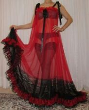 Vintage Red Rot sheer Nylon Lace Lingerie Nightgown Babydoll Negligee M-6X
