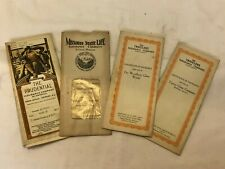 4 1920's & 30's Insurance Policy Certificates - Missouri State Life, Prudential