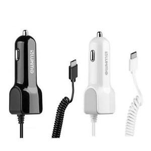 UNIVERSAL 2.1A TYPE C CAR CHARGER W/ ATTACHED CABLE & 1 EXTRA USB CHARGING PORT