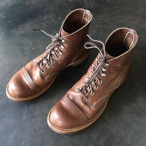 RED WING CLASSIC IRON RANGER CAPTOE 8111 6-INCH BOOT IN AMBER HARNESS Sz 10D