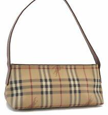 Authentic Burberry LONDON Nova Check Shoulder Bag PVC Leather Brown Beige C3087