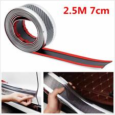 Car Door Sill Protector Carbon Fiber Silver Bumper Corner Guard Strip 2.5m*7cm