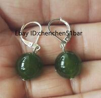 schönen 12mm grüne Jade Ohrringe