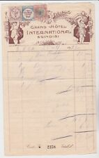 ITALY STAMPS GRAND HOTEL BRINDISI 1922 RECEIPT WITH STAMPS