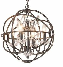 Chandelier Globe Crystal Antique Black Iron Bars Crystal Beading Dining Room