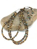 """Navajo Tigers Eye Multcolor 3S Turquoise Sterling Silver Necklace 22"""" 4892"""