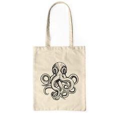 Jutebeutel natur Oktopus Tasche lange Henkel Stoffbeutel Tote Bag