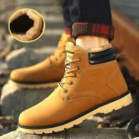New Men Fur Lined Ankle   Boots Casual High Top Sneakers Boy Winter Shoes