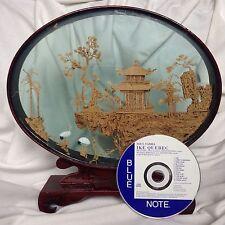 Antique Chinese Miniature Handcarved Wood Palace Crane Tree Rock Crane Netsuke