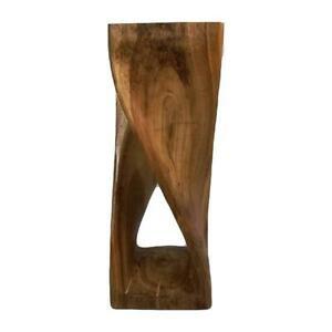 76Cm Twisted Stool Raintree Wood Side Table Clear Finish