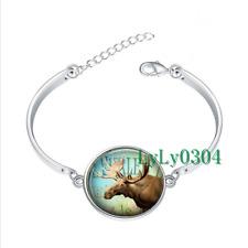 Moose Collage glass cabochon Tibet silver bangle bracelets wholesale