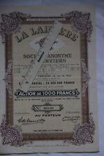La Lainière Société  anonyme à Verviers  2 actions de 1000 francs