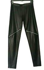 5d170d13e4e298 Calzedonia Womens Black Leather Look Elastic Waist Zippered Leggings Size  Medium
