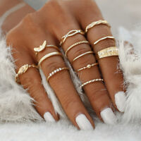 12Pcs/Set Retro Gold Boho Midi Finger Knuckle Rings Women Fashion Jewelry Gift