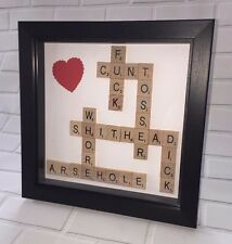Personalised Scrabble Art Picture Gift Birthday Rude, Hen, Stag, ~Black Frame