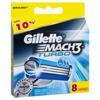 GILLETTE MACH 3 TURBO RAZOR BLADES 8 - 100% GENUINE UK STOCK ** FREE POSTAGE **