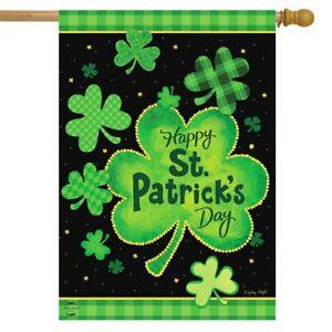 "St. Patrick's Day Shamrock House Flag Patterned Clover 28"" x 40"" Briarwood Lane"