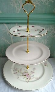 3 tier XL china cake stand Mismatched Pink & white spot, pink & rose buds plates