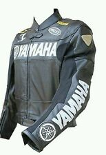 Men Yamaha Motorcycle Racing Leather Jacket In Black