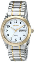 Seiko Men's Core Solar Day/Date Two Tone Stainless Steel Expansion Watch SNE062