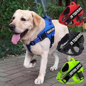 No-Pull Pet Service Dog Harness Adjust Reflective Outdoor Vest &2 Removable Tags