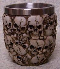 Wine Brandy Goblet Multiple Skulls Halloween 5 oz por NEW Stainless Steel Insert