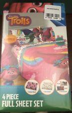 "Trolls ""Show Me a Smile"" 4 Piece Sheet Set Full Size Dreamworks"