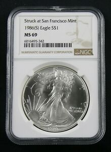 Mint State 69 1987 NGC MS69 Silver American Eagle Dollar