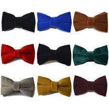 Men Velvet Solid Color Bow Tie Adjustable Wedding Party Bowtie Necktie