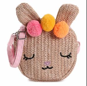 NWT Girl's Olive & Edie Straw-Look Rabbit Purse Zipper Crossbody Strap EASTER