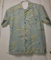 Tommy Bahamas Men's Hawaiian Shirt Silk Cotton Floral Leaves Green Size M