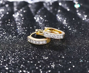 """9ct 9K Yellow & White """"Gold Filled """" White Stones Small Oval Hoop Earrings. 14mm"""