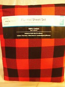 NEW - Twin Flannel Red Plaid 3 Piece Sheet Set - Mainstays