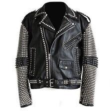 Handmade Mens studded leather biker motorcycle rocker jacket Rock punk design