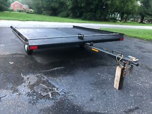 snowmobile trailer, carrying wood, home repairs, black with new tires, easy ramp