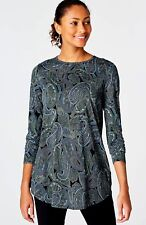J. Jill - GORGEOUS IMPERIAL BLUE WOODBLOCK PAISLEY KNIT TUNIC, MP may fit LP