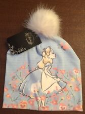 Disney Alice In Wonderland Knit Hat Sketchy Art White Pom Character Beanie
