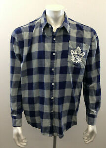 Toronto Maple Leaves NHL Men's Large Blue Check Long Sleeve Cotton Fleece Shirt