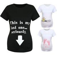 Women Maternity Short Sleeve Cartoon Letter Tops T Shirt Pregnancy Blouse Tee CR