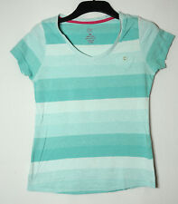 BLUE WHITE STRIPED LADIES CASUAL TOP BLOUSE V-NECK SIZE 10 TU