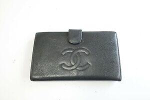 Authentic CHANEL Caviar Leather Black CC Long Wallet  #9572