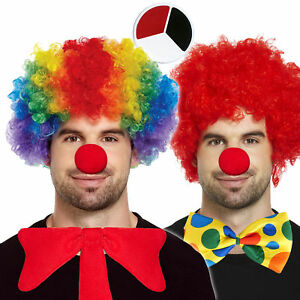 Clown Afro & Facepaint Costume: Wig Red Nose Bow Tie Rainbow Red Fancy Dress