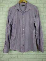 Rodd & Gunn Men's Shirt Purple, White Check Print Sports Fit Sz XL