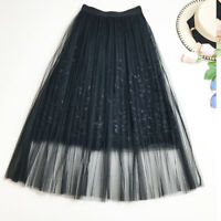2019New Fashion embroidery Lace Women Skirts elegant Tulle Pleated A-Line Skirt