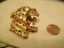 Hattie Carnegie Roaring Leopard Brooch/Pin With Teeth Unsigned