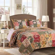King Size Quilt 3 Pc Bedding Set Reversible Patchwork 100% Cotton *New*